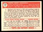 1952 Topps Reprints #227  Joe Garagiola  Back Thumbnail