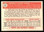 1952 Topps REPRINT #327  Al Wilson  Back Thumbnail
