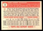 1952 Topps REPRINT #13  Johnny Wyrostek  Back Thumbnail