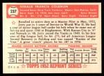 1952 Topps REPRINT #237  Jerry Coleman  Back Thumbnail