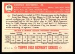 1952 Topps REPRINT #199  George Zuverink  Back Thumbnail