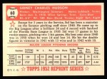 1952 Topps REPRINT #60  Sid Hudson  Back Thumbnail
