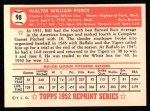 1952 Topps REPRINT #98  Billy Pierce  Back Thumbnail