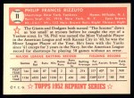 1952 Topps REPRINT #11  Phil Rizzuto  Back Thumbnail