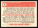 1952 Topps REPRINT #87  Dale Coogan  Back Thumbnail