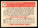 1952 Topps REPRINT #229  Gene Bearden  Back Thumbnail