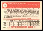 1952 Topps Reprints #133  Al Widmar  Back Thumbnail