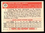 1952 Topps Reprints #272  Mike Garcia  Back Thumbnail