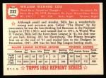 1952 Topps Reprints #232  Billy Cox  Back Thumbnail