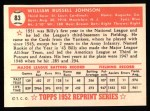 1952 Topps Reprints #83  Billy Johnson  Back Thumbnail