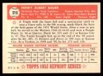 1952 Topps Reprints #215  Hank Bauer  Back Thumbnail