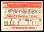 1952 Topps REPRINT #326  George Shuba  Back Thumbnail