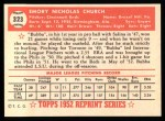 1952 Topps REPRINT #323  Bubba Church  Back Thumbnail