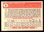 1952 Topps Reprints #49  Johnny Sain  Back Thumbnail