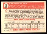 1952 Topps REPRINT #49  Johnny Sain  Back Thumbnail