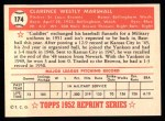 1952 Topps Reprints #174  Clarence Marshall  Back Thumbnail