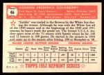 1952 Topps REPRINT #46  Gordon Goldsberry  Back Thumbnail