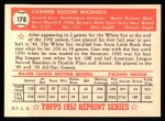 1952 Topps Reprints #178  Cass Michaels  Back Thumbnail
