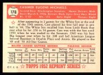 1952 Topps REPRINT #178  Cass Michaels  Back Thumbnail