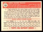 1952 Topps REPRINT #262  Virgil Trucks  Back Thumbnail