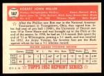 1952 Topps REPRINT #187  Bob Miller  Back Thumbnail