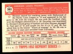 1952 Topps Reprints #385  Herman Franks  Back Thumbnail