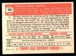 1952 Topps REPRINT #385  Herman Franks  Back Thumbnail