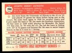 1952 Topps REPRINT #290  Joe Astroth  Back Thumbnail