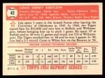 1952 Topps REPRINT #42  Lou Kretlow  Back Thumbnail