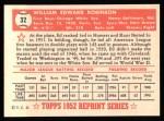 1952 Topps Reprints #32  Eddie Robinson  Back Thumbnail