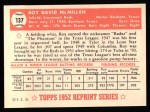 1952 Topps Reprints #137  Roy McMillan  Back Thumbnail