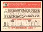 1952 Topps REPRINT #210  Dick Fowler  Back Thumbnail