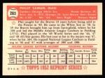 1952 Topps REPRINT #283  Phil Masi  Back Thumbnail