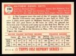 1952 Topps REPRINT #230  Matt Batts  Back Thumbnail