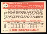 1952 Topps REPRINT #230  Matt Batts  Back Thumbnail