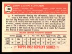 1952 Topps REPRINT #148  Johnny Klippstein  Back Thumbnail