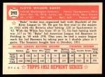 1952 Topps REPRINT #292  Floyd Baker  Back Thumbnail