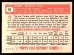 1952 Topps REPRINT #48  Joe Page  Back Thumbnail