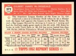1952 Topps REPRINT #372  Gil McDougald  Back Thumbnail