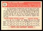 1952 Topps REPRINT #122  Jackie Jensen  Back Thumbnail
