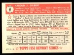 1952 Topps Reprints #61  Tookie Gilbert  Back Thumbnail