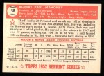 1952 Topps REPRINT #58  Bob Mahoney  Back Thumbnail