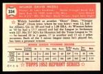 1952 Topps REPRINT #334  Wilmer Mizell  Back Thumbnail