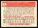 1952 Topps REPRINT #121  Gus Niarhos  Back Thumbnail