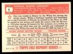 1952 Topps Reprints #4  Don Lenhardt  Back Thumbnail
