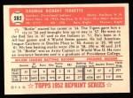 1952 Topps REPRINT #282  Birdie Tebbetts  Back Thumbnail