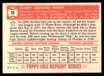 1952 Topps Reprints #10  Al Rosen  Back Thumbnail