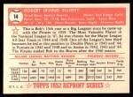 1952 Topps Reprints #14  Bob Elliott  Back Thumbnail