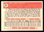 1952 Topps Reprints #354  Fred Hatfield  Back Thumbnail
