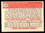 1952 Topps REPRINT #279  Eddie Stewart  Back Thumbnail